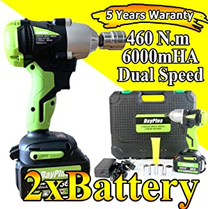 18V Cordless 6 0 Rechargeable Li-ion Battery Speed Comapct Power Impact Wrench Driver 460 N m inch Square Drive 3200rpm Variable Speed with Socket Charger  amp  Carry Case