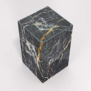 Marquina Black Marble- Pedestal Side, End Table (W: 11.75