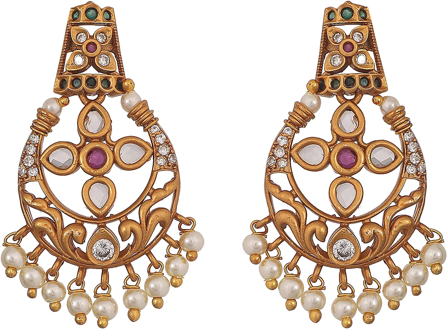 Tarinika Antique Traditional CZ Gold-Plated Indian Necklace Set - White Red Green -- For Women and Girls
