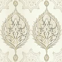 York Wallcoverings Patina Vie Henna Pal Ogee Removable Wallpaper, Beiges