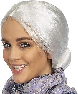 Skeleteen Peluca de Mujer Vieja Blanca, Accesorio para Disfraz de Abuela con moño para Adultos y niños