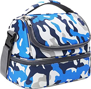 FlowFly Kids Lunch Box Double Decker Cooler Insulated Lunch Bag Large Tote for Boys,Girls,Men,Women, With Adjustable Stra...