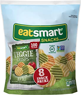 Eatsmart Snacks Veggie Crisps, 100 Calorie Multipack, Sea Salt, 8 Count (Pack of 6)