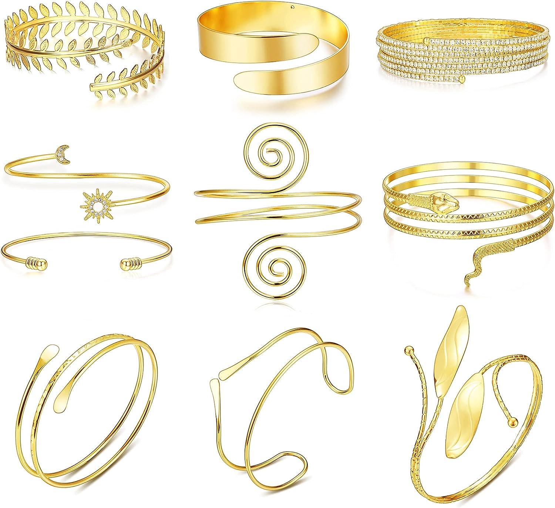 Suprsparkle 9-10PCS Upper Arm Cuff Arm Bands For Women Gold Adjustable Upper Arm Cuff Bracelets Boho Armband Bangle Jewelry