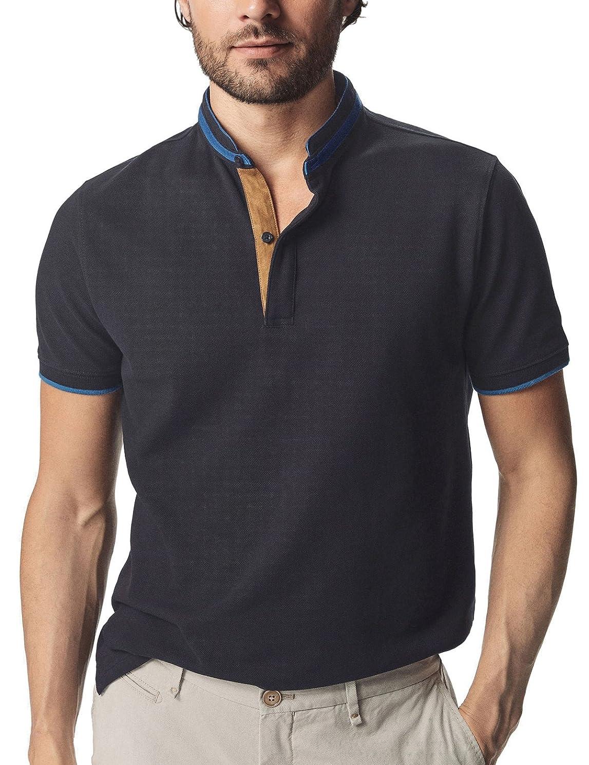 Navifalcon Mens Short Sleeve Classic Fit Cotton Pique Polo Shirt