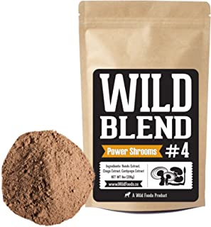 Wild Foods Blends, Superfood Powder Blends for Smoothies, Shakes, Coffee, Baking - Health, Performance, Nootropic Mental Performance (Power Shrooms - 4oz)