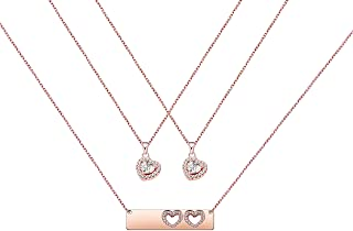 Daughter Gifts Mother Daughter Necklace Cubic Zirconia Love Pendant Necklace Mother`s Day Gift