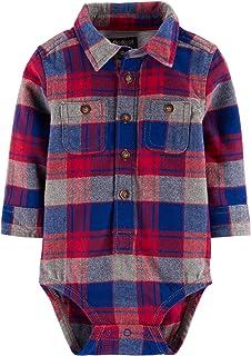Baby Boys' Long Sleeve Plaid Bodysuit (Red/Blue/Grey,...