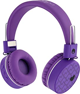 RockPapa Love On Ear Foldable Stereo Wireless Bluetooth Headphones Headset with Microphone for Kids Childrens Boys Girls Purple