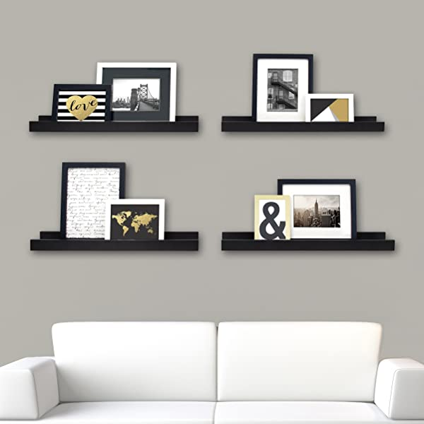 Kieragrace Edge Picture Frame Ledge 23 By 4 Inch Set Of 4 Black