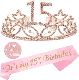 15th Birthday Tiara and Sash Pink, Happy 15th Birthday Party Supplies, Crystal Tiara Birthday Crown for 15th Birthday Party Supplies and Decorations (Pink)