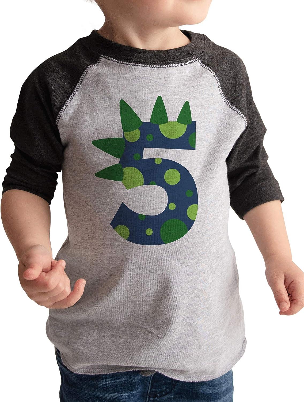 5th Birthday Shirt for Boys Dinosaur Spikes 5 Year Old Boy Birthday Boy Dino Five T-Shirt Raglan Tee