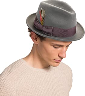 Janetshats Unisex Classic Fedora Hats Wool Felt Trilby Hat with Bowknot Feather