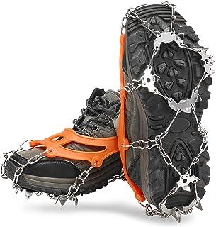 19 tänder crampons glidskiva av rostfritt stål anti slip iskoppar sko boot grepp traction snö spikar crampons,Orange,L