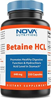 Nova Nutritions Betaine HCL with Pepsin Digestive Enzyme 648 mg 250 Capsules - Tested For Quality and Safety, Gluten Free ...