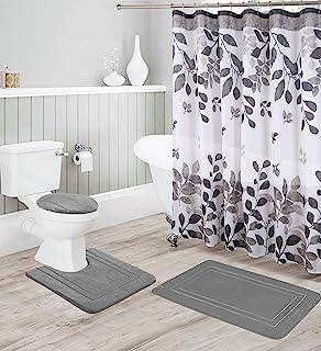 Kids Zone Home Linen Grey 16pc Bathroom Accessory Set -...