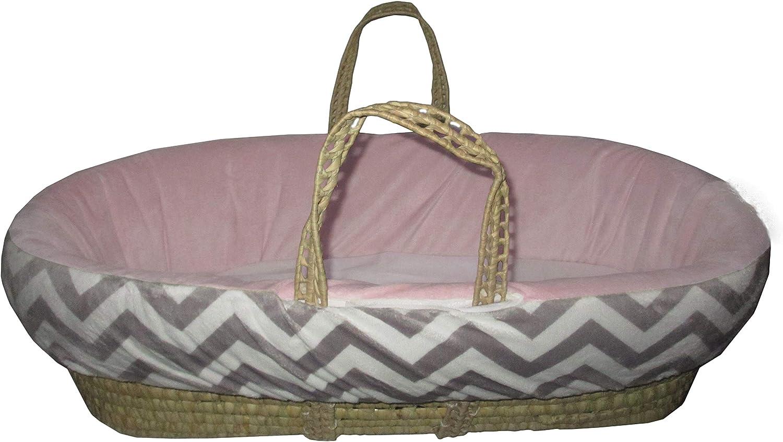 BabyDoll Minky Chevron Moses Basket, Pink