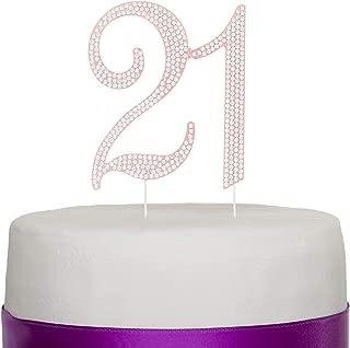 Ella Celebration 21 Cake Topper for 21st Birthday Party Rose Gold Metal Number Decoration (Rose Gold)