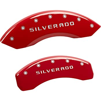 MGP Caliper Covers 10215SXPLRD Explorer Engraved Caliper Cover with Red Powder Coat Finish and Silver Characters, Set of 4
