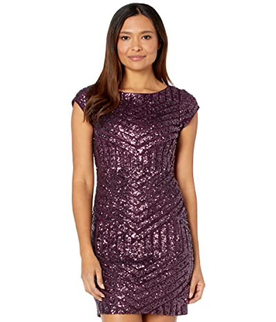 Vince Camuto Sequin Extended Cap Sleeved T-Body (Plum) Women