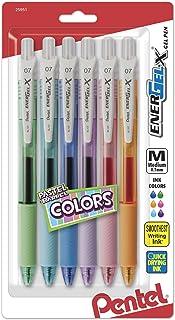 Pentel Energel-X Pastel Barrels Retractable, Medium Line, Assorted Ink Colors Pack of 6 (BL107FBP6M)