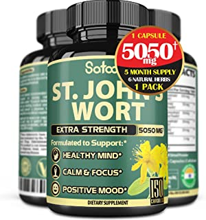 High-Concentrated St.John's Wort Extract Capsules - 5Month Supply - Equivalent to 5050mg 6in1 Herbal Supplement with Ashwa...