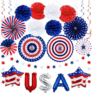 4th of July Patriotic Decorations Set - Red & White & Blue USA Star Foil Balloons,Paper Fans,Star Streamer,Pom Poms,Hanging Swirls Party Decor Supplies