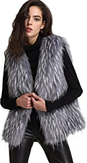 ANNA&CHRIS Womens Soft Sleeveless Faux Fur Vest Gradient Waistcoat Jacket