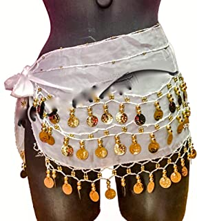 turc trois rang/ées en mousseline Belly Dance Hip /Écharpe Ceinture Noir//argent