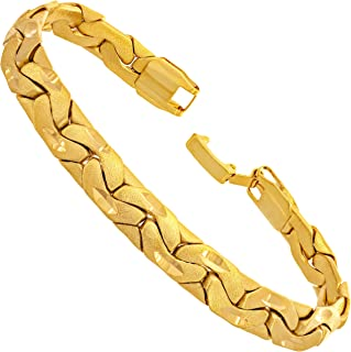 7.5mm Brushed Riccio Bracelet 24k Gold Plated for Women...