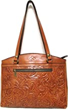 Patricia Nash Burnished Tooled Collection Poppy Tote Gold Brown