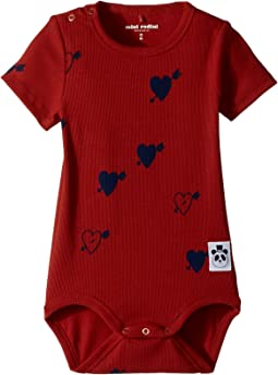 mini rodini - Heart Rib Short Sleeve Bodysuit (Infant)