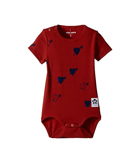 mini rodini Heart Rib Short Sleeve Bodysuit (Infant)