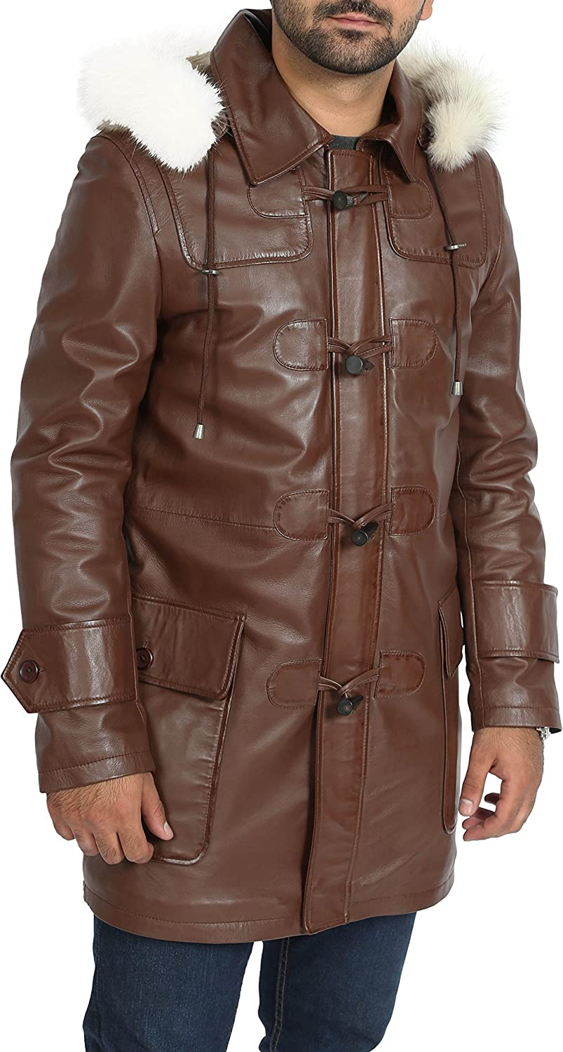 A1 FASHION GOODS Mens Duffle Leather Coat Brown ¾ Long Removable Hood Zip Up Designer Jacket - Ian