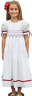 Smocked Christmas Dresses Red White Size 3t to 8 Flower Girl Dress