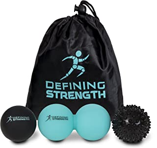 Top 3 Massage Balls Set, Spiky ball, Lacrosse ball, Peanut Muscle Roller Massager. Ideal for Self Myofascial Trigger Point Release, Plantar Fasciitis for Physio, Exercise, Sports, Back Legs & Feet