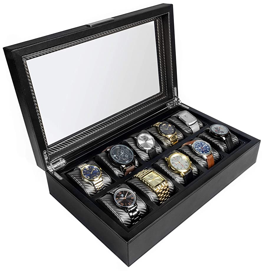 HOUNDSBAY Mariner Watch Box Display Case | Luxury Carbon Fiber Pattern Interior with 10 Wide Watch Slots to Hold Big Face Watches (Black)