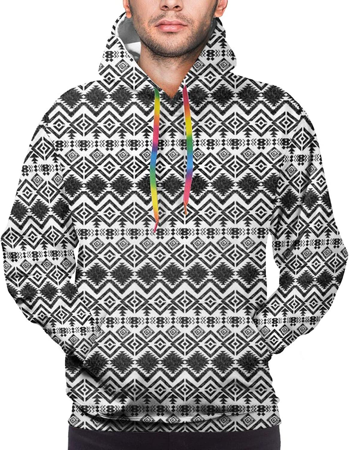Men's Hoodies Sweatshirts,Black and White Geometrical Backdrop with Hibiscus and Birds of Paradise Flower
