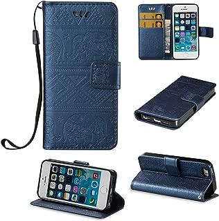 Bleu 3D Bling Briller Strass Cuir PU Premium avec Papillon et Fleurs en Relief Protection Mince /Étui iPhone SE // iPhone 5S // iPhone 5 Coque Flip Portefeuille Support pour Apple iPhone SE // 5S // 5
