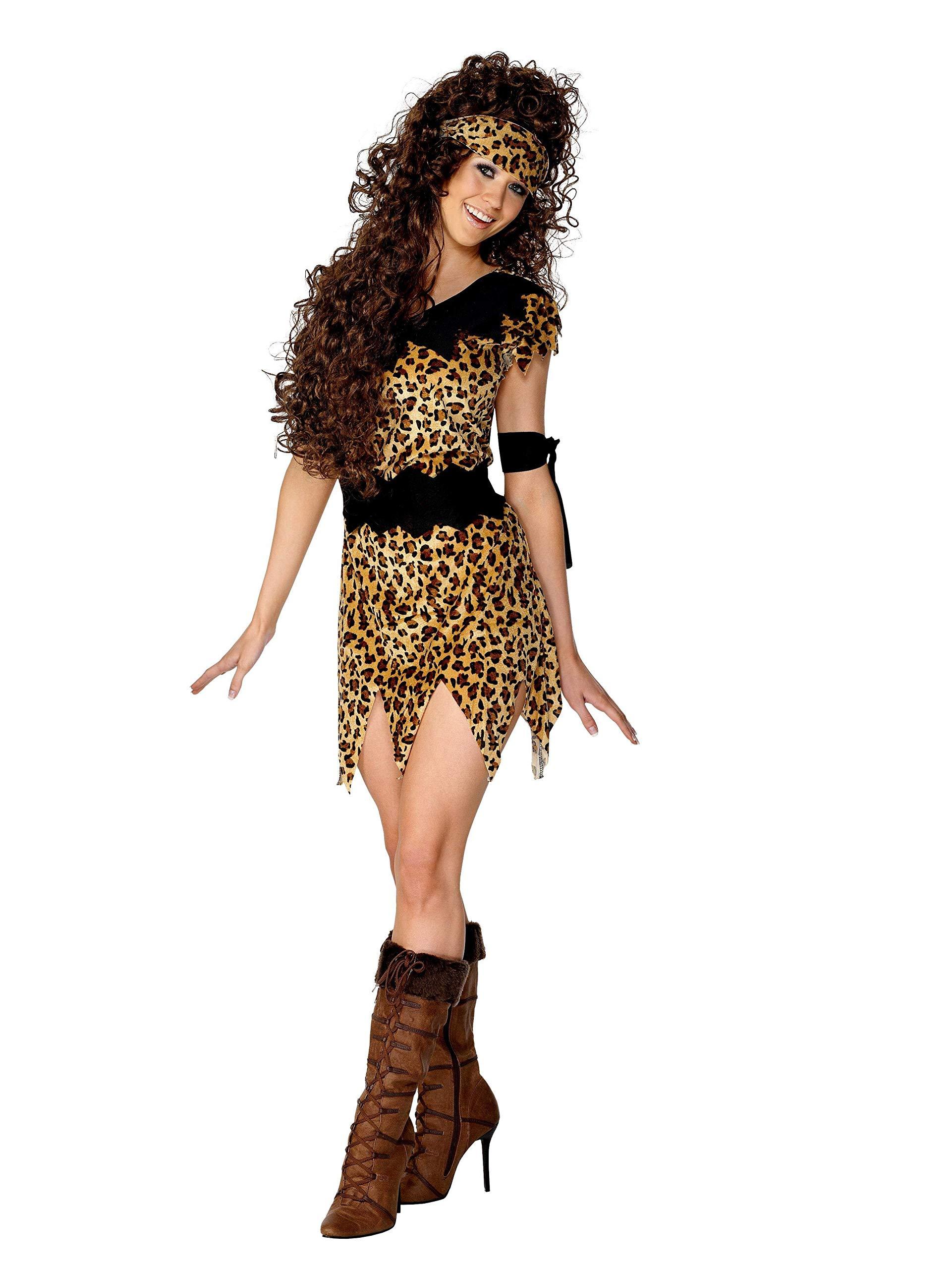 Smiffys-28600X1 Disfraz de Mujer cavernícola y marrón, Estampado ...