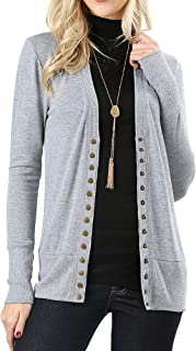 The Lovely Women Classic V-Neck Button Down Long Sleeve Ribbed Thin Knit Cardigan