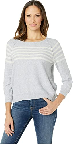 3/4 Sleeve Striped Boat Neck Top