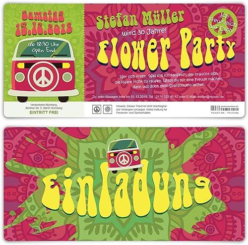 100 x Geburtstag Einladungskarten Geburtstagseinladungen Einladung Eintrittskarten - 70er Jahre Flower Party Ticket