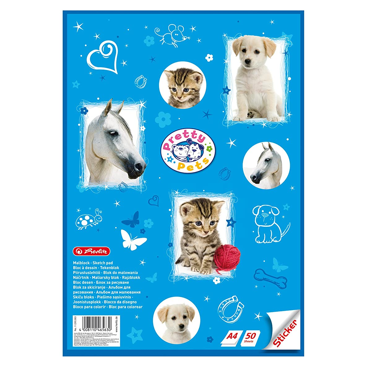 Herlitz Drawing Pad with Sticker Sheet A4, Pretty Pets, 5–Pack