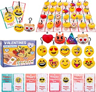 28Pcs Valentines Day Kids Gift Cards with Emotion Plush Keychains for Valentine's Classroom School Exchange Emoji Party Fa...