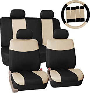 FH Group Pique Fabric Full Set Seat Covers w.Steering Wheel Covers and Seat Belt Pads Beige/Black- Fit Most Car, Truck, SUV, or Van