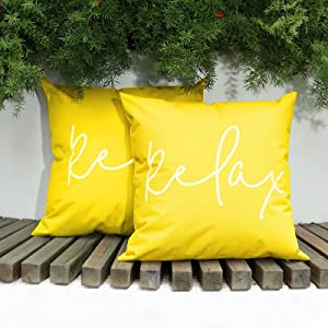 Lewondr Waterproof Outdoor Throw Pillow Cover, 2 Pack Relax Printing Throw Pillow Case UV Protection Garden Cushion Cover for Patio Sofa Couch Balcony Christmas Decor 18