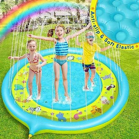 TOYANDONA Splash Play Mat Tappetino Antispruzzo Sicuro E Duraturo Nessuna Perdita di Acqua in PVC Giocattoli per Esterni per Sprinkler Cuscino Dacqua per Giochi per Bambini Allaperto