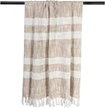 DII Rustic Farmhouse Cotton Stripe Blanket Throw with Fringe For Chair, Couch, Picnic, Camping, Beach, & Everyday Use , 50...