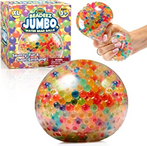 Beadeez Squishy Stress Balls with Gel Water Beads - Jumbo Size (Colorful) - Anti-Stress ADHD Anxiety Relief Sensory Toy for Kids and Adults - Promote Calm Focus, Reduce Hand, Wrist Pain